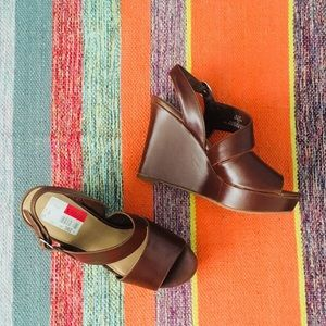 Shoes - BRAND NEW BROWN FAUX LEATHER PLATFORM WEDGES